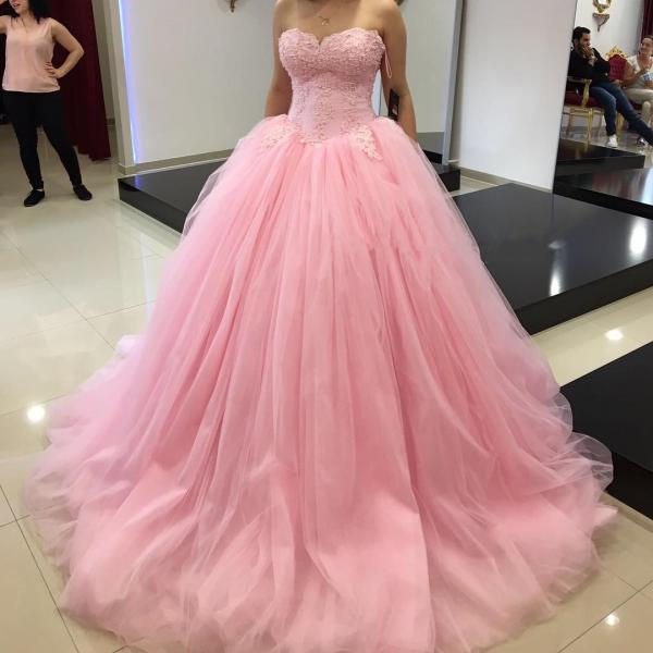 Ball Gown Tulle Pink Prom Dress with Lace Appliques 2019