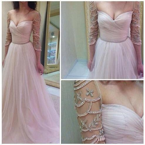 Long Sleeve Charming Tulle Prom Dresses Sweetheart Neck Beading Party Dresses Floor Length Women Dresses Tailor Made
