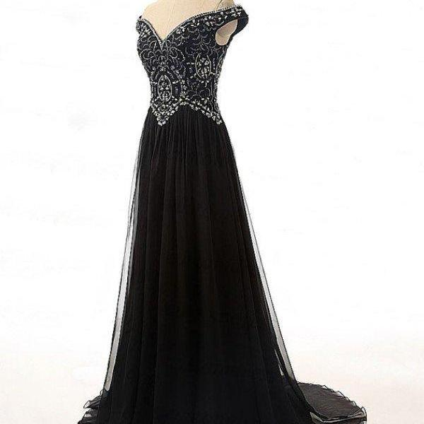 V-neck Black Chiffon Prom Dresses Crystals Women Party Dresses