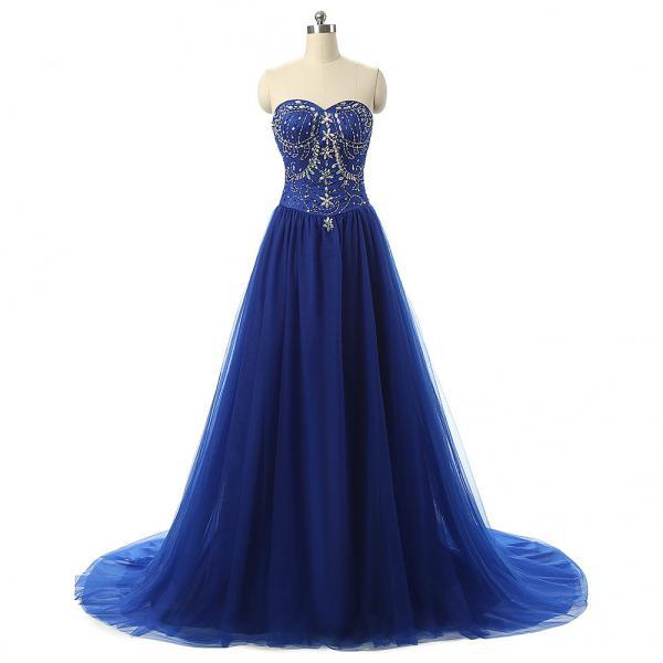 Sweetheart Neck Royal Blue Long Chiffon prom Dresses Crystals Women Party Dresses