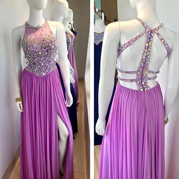 Purple Chiffon Prom Dresses, Crystals Prom Dresses, Open Back Women Dresses, Custom Made Prom Dresses 2017